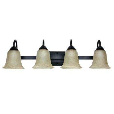 4-Light 26-Watt Warm White (3000K) Oil-Rubbed Bronze Integrated LED Bath Vanity Light Fixture
