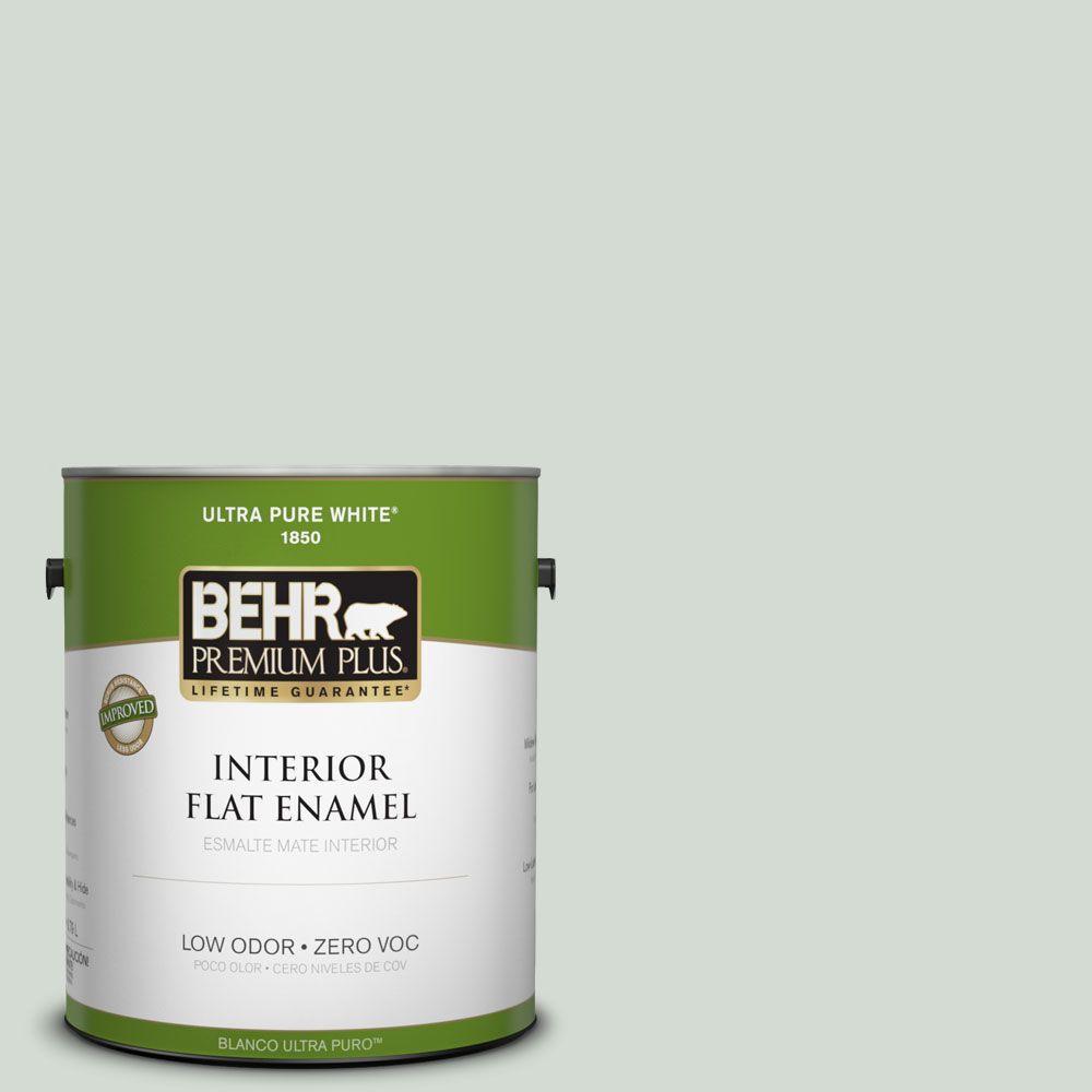 BEHR Premium Plus 1-gal. #ICC-95 Soothing Celadon Zero VOC Flat Enamel Interior Paint-DISCONTINUED