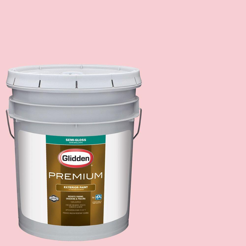 Glidden Premium 5-gal. #HDGR42 Pinwheel Pink Semi-Gloss Latex Exterior Paint