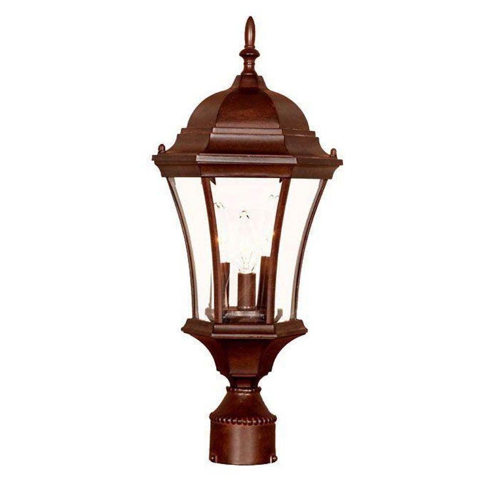 Acclaim Lighting Brynmawr 3 Light Burled Walnut Outdoor Post Mount Light  Fixture 5027BW   The Home Depot
