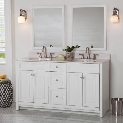 Brinkhill 61 in. W x 22 in. D Bathroom Vanity in White with Stone Effect Vanity Top in Pulsar with White Sink