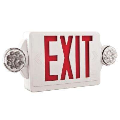 Quantum 2-Light LED Polycarbonate Emergency Exit Sign/Fixture Unit Combo