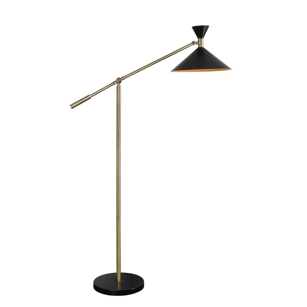 Black Floor Lamp With Metal Shade