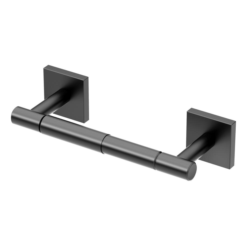 Gatco Elevate Standard Double Post Toilet Paper Holder In Matte Black 4053amx The Home Depot