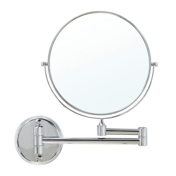 8 in. Two-Sided 1X and 5X Brass Magnifying Wall-Mounted Makeup Mirror in Polished Chrome