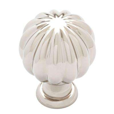 Fluted Classic 1-3/16 in. (30mm) Polished Nickel Round Cabinet Knob