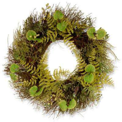 24 in. Garden Accents Fern and Lavender Wreath