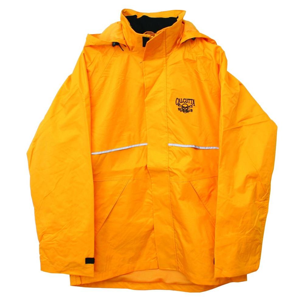 Calcutta Adult Double Extra Large Nylon Hooded Storm Jacket Rainsuit in Yellow, Fleece Lined Collar