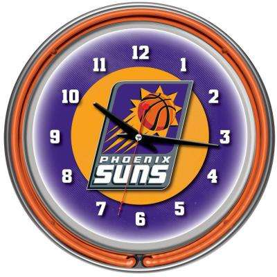14 in. Phoenix Suns NBA Chrome Double Ring Neon Wall Clock