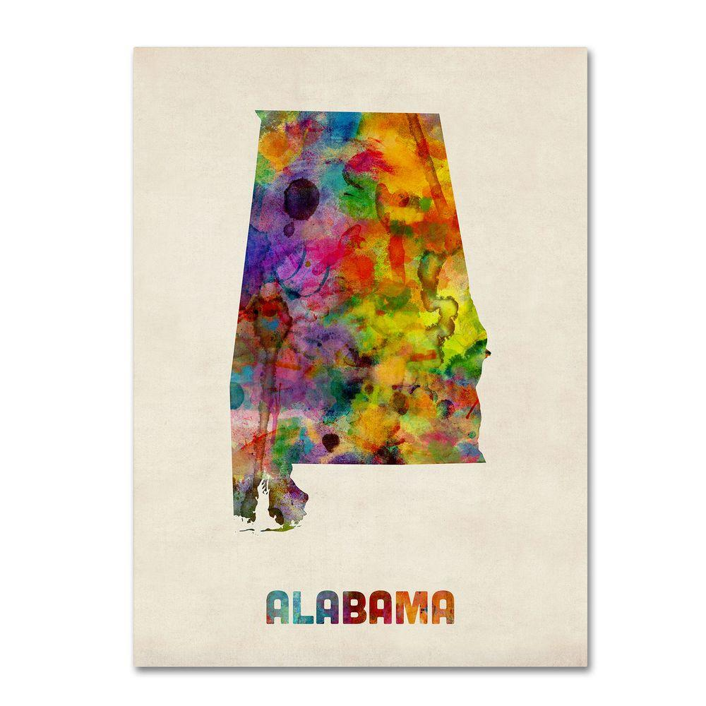 Trademark Fine Art 14 in. x 19 in. Alabama Map Canvas Art