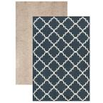 Fancy Trellis Navy Set (Set Contains: 5 ft. x 7 ft. Rug and Rug Pad)