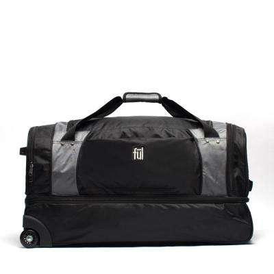 XPEDITION 30 in. Black/Grey Rolling Duffel Bag Retractable Pull Handle Split Level Storage