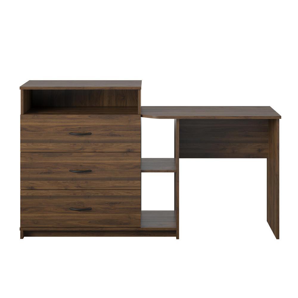 Sonnet 3-Drawer Walnut Media Dresser and Desk (34.69 in. H x 59.21 in. W x 17.72 in. D)