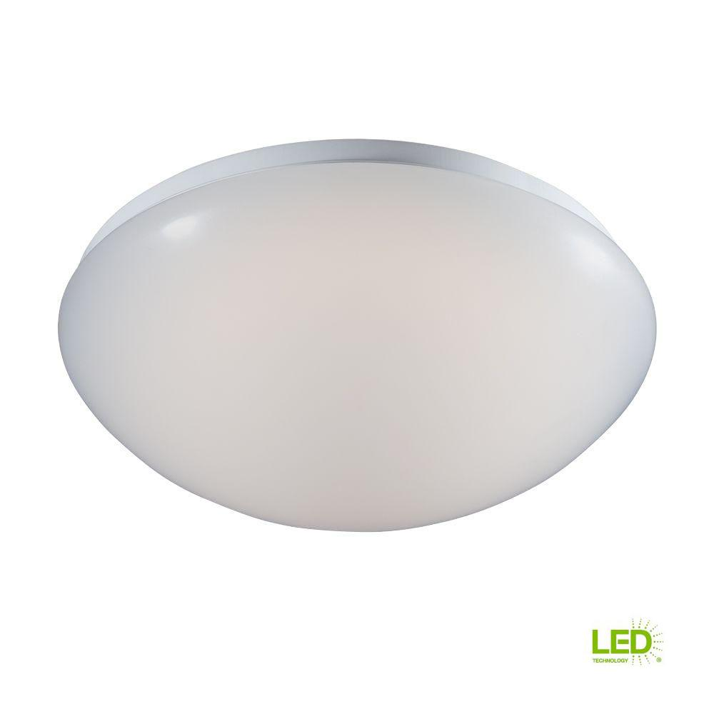 Commercial Electric 14 in. Low-Profile White Integrated LED Round Puff Flushmount