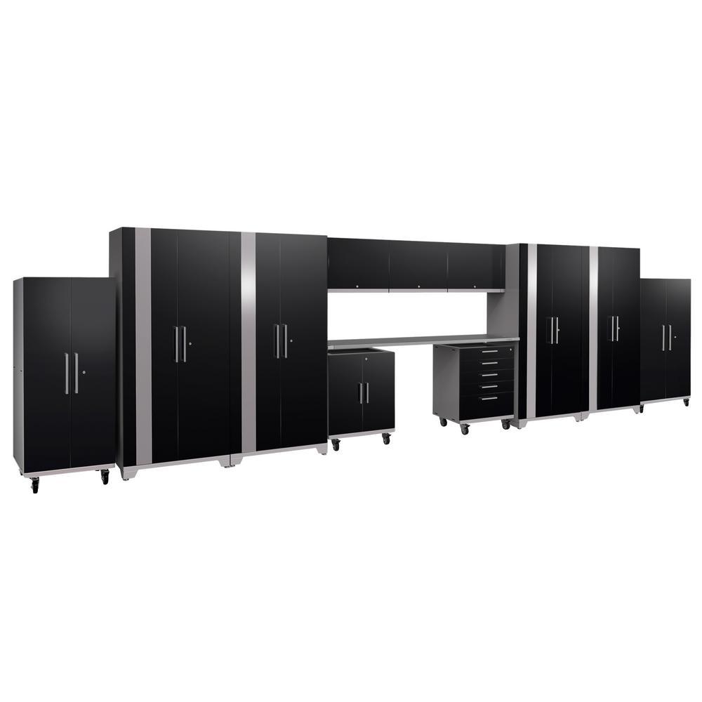Performance Plus 2.0 80 in. H x 289 in. W x 24 in. D Steel Garage Cabinet Set in Black (12-Piece)