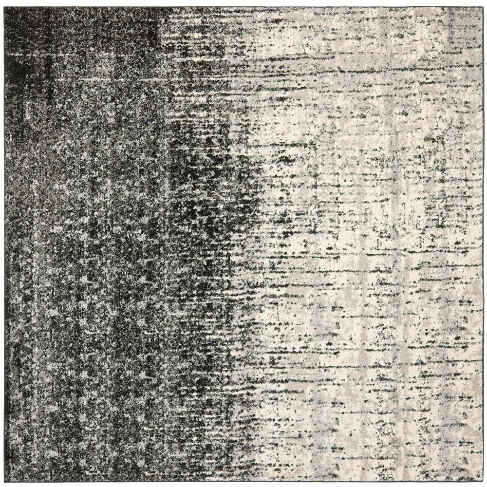 Retro Black/Grey 8 ft. x 8 ft. Square Area Rug