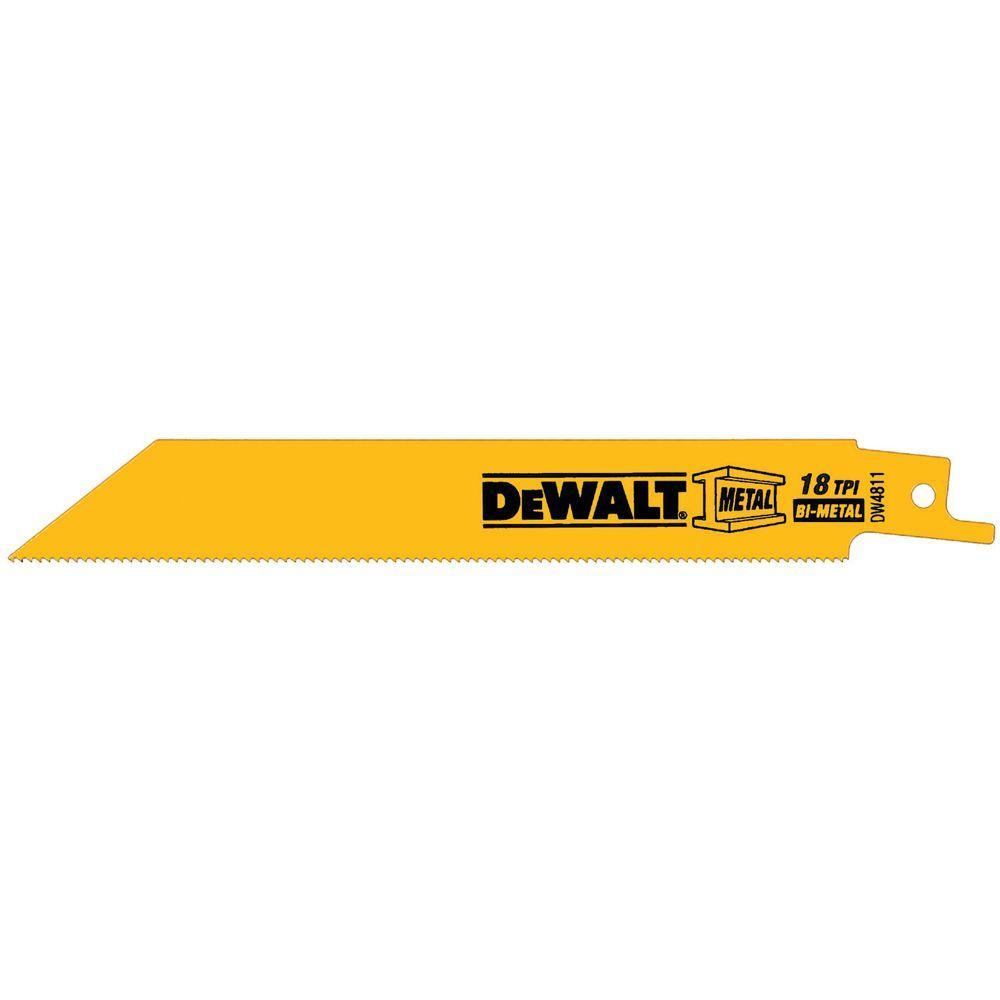 DEWALT 6 in. x 18 TPI Metal Cutting Bi-Metal Reciprocating Blades (2-Pack)