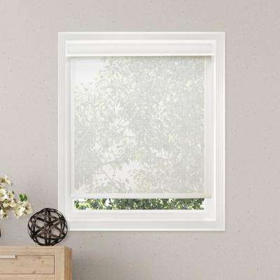 Free-Stop Cordless Roller Shade / Blind Curtain Drape, No Tug, Solar, See Through - Cloud White, 48 in. W X 72 in. H