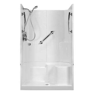 48 in. x 36 in. x 80 in. Freedom 3-Piece Low Threshold Shower Stall in White, RHS Molded Seat, Shower Kit, Center Drain