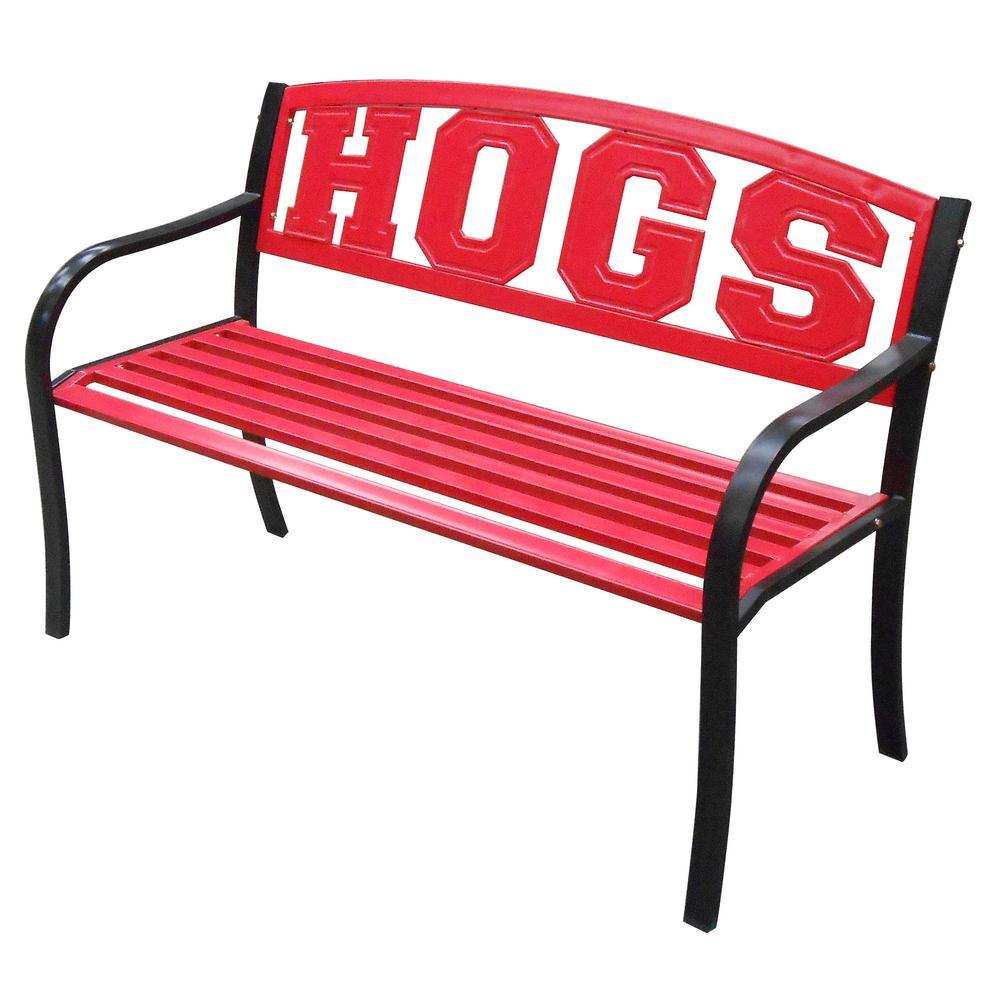 Arkansas Hogs Metal Patio Bench