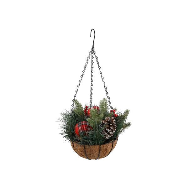13 in. Artificial Plants Chiristmas Hanging Basket