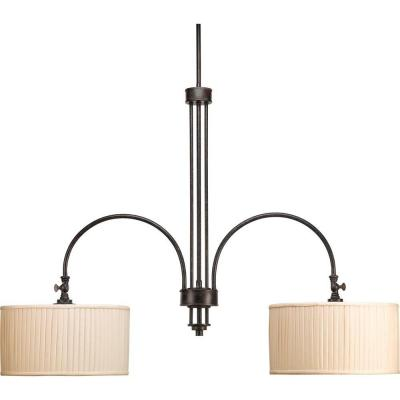 Clayton Collection 2-Light Espresso Chandelier with Cream Pleated Linen Shade