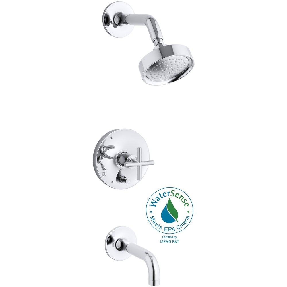 Purist 1-Handle Pressure-Balancing Tub and Shower Faucet Trim Kit in Polished