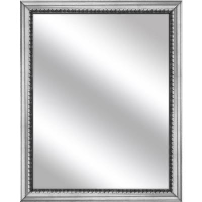 Medium Rectangle Stainless Silver Art Deco Mirror (30.75 in. H x 24.75 in. W)