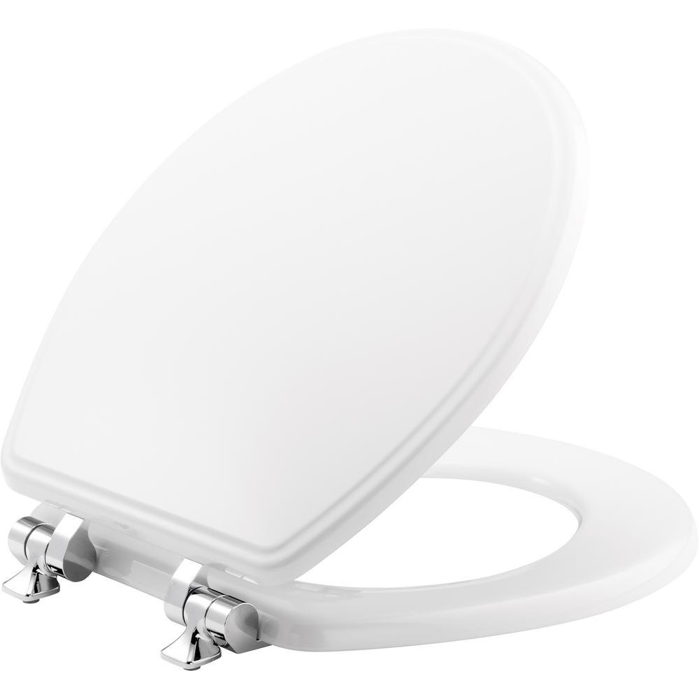 BEMIS BEMIS Slow Close Round Closed Front Toilet Seat in White
