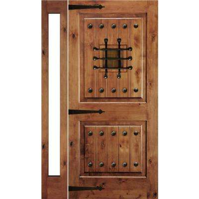 46 in. x 80 in. Mediterranean Alder Sq Clear Low-E Unfinished Wood Right-Hand Prehung Front Door with Left Full Sidelite