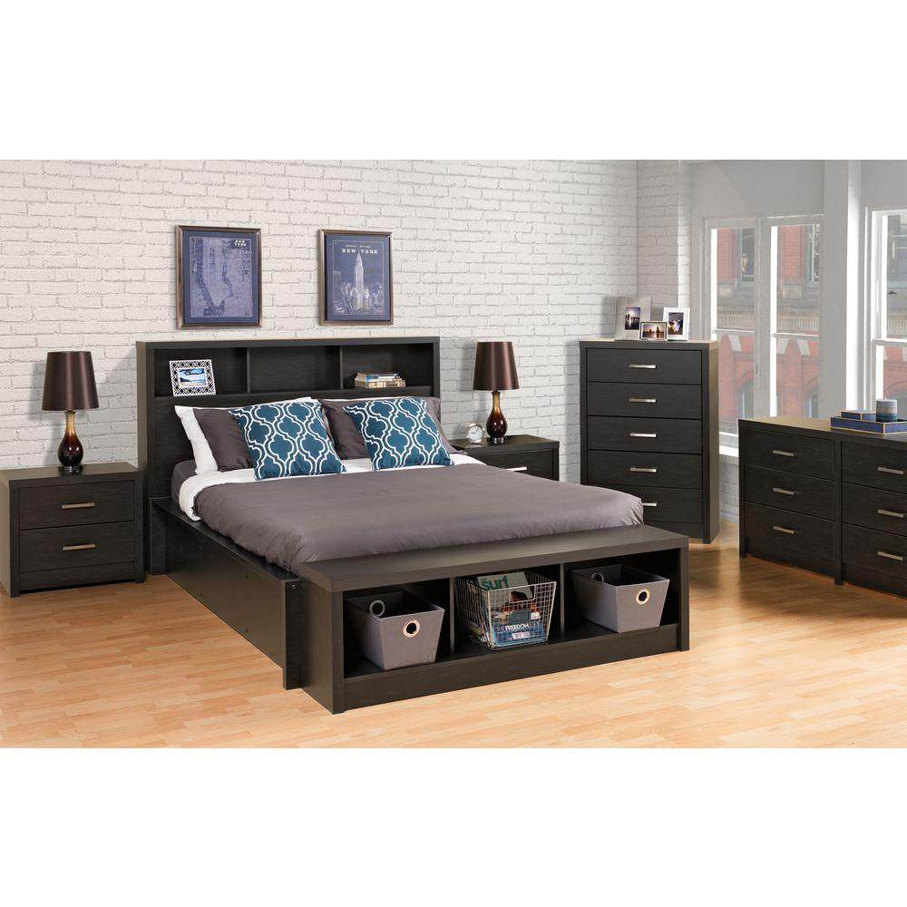 District 5-Drawer Washed Black Chest