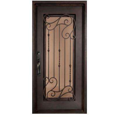 37.5 in. x 81.5 in. Armonia Classic Full Lite Painted Oil Rubbed Bronze Wrought Iron Prehung Front Door