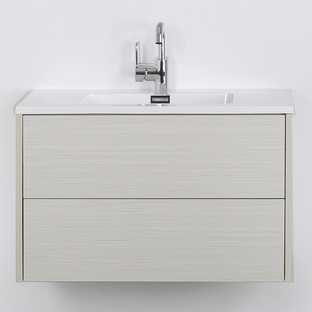Streamline 31.5 in. W x 19.3 in. H Bath Vanity in Gray with Resin Vanity Top in White with White Basin
