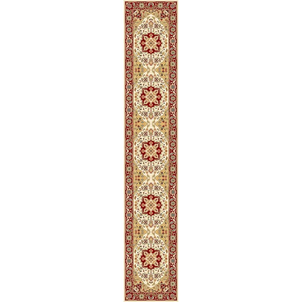 Lyndhurst Ivory/Red 2 ft. x 22 ft. Runner Rug