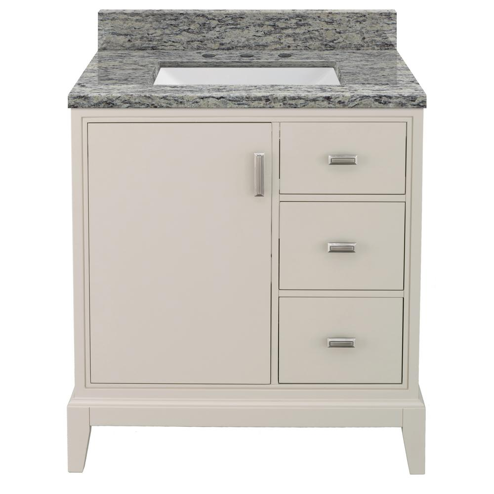 Home Decorators Collection Shaelyn 31 in. W x 22 in. D Bath Vanity in Rainy Day RH with Granite Vanity Top in Santa Cecilia with White Sink was $799.0 now $559.3 (30.0% off)