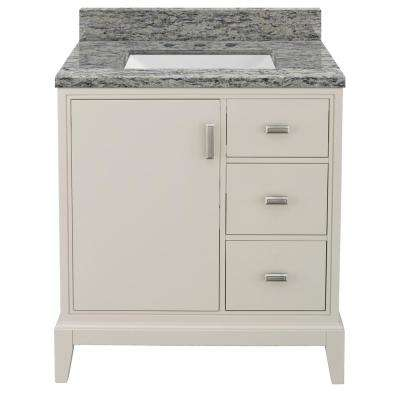Shaelyn 31 in. W x 22 in. D Bath Vanity in Rainy Day RH with Granite Vanity Top in Santa Cecilia with White Sink