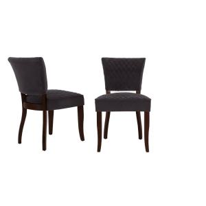Cline Chocolate Wood Upholstered Dining Chair with Charcoal Seat (Set of 2) (24.80 in. W x 34.25 in. H)