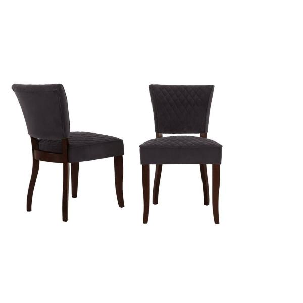 Home Decorators Collection Cline Chocolate Wood Upholstered Dining Chair With Charcoal Seat Set Of 2 24 80 In W X 34 25 In H 3188 D Charcoal The Home Depot