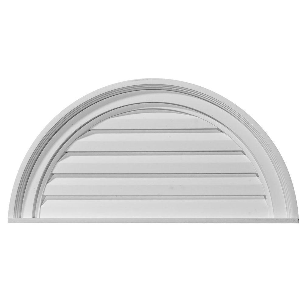 Ekena Millwork 1 1/8 in  x 24 in  x 12 in  Decorative Half Round Gable  Louver Vent