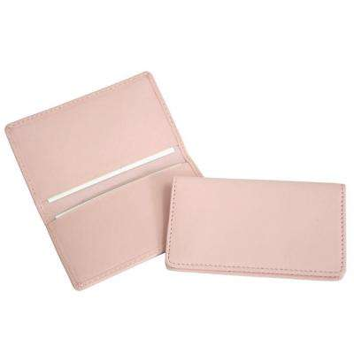 Black and Carnation Pink Business Card Case in Genuine Leather