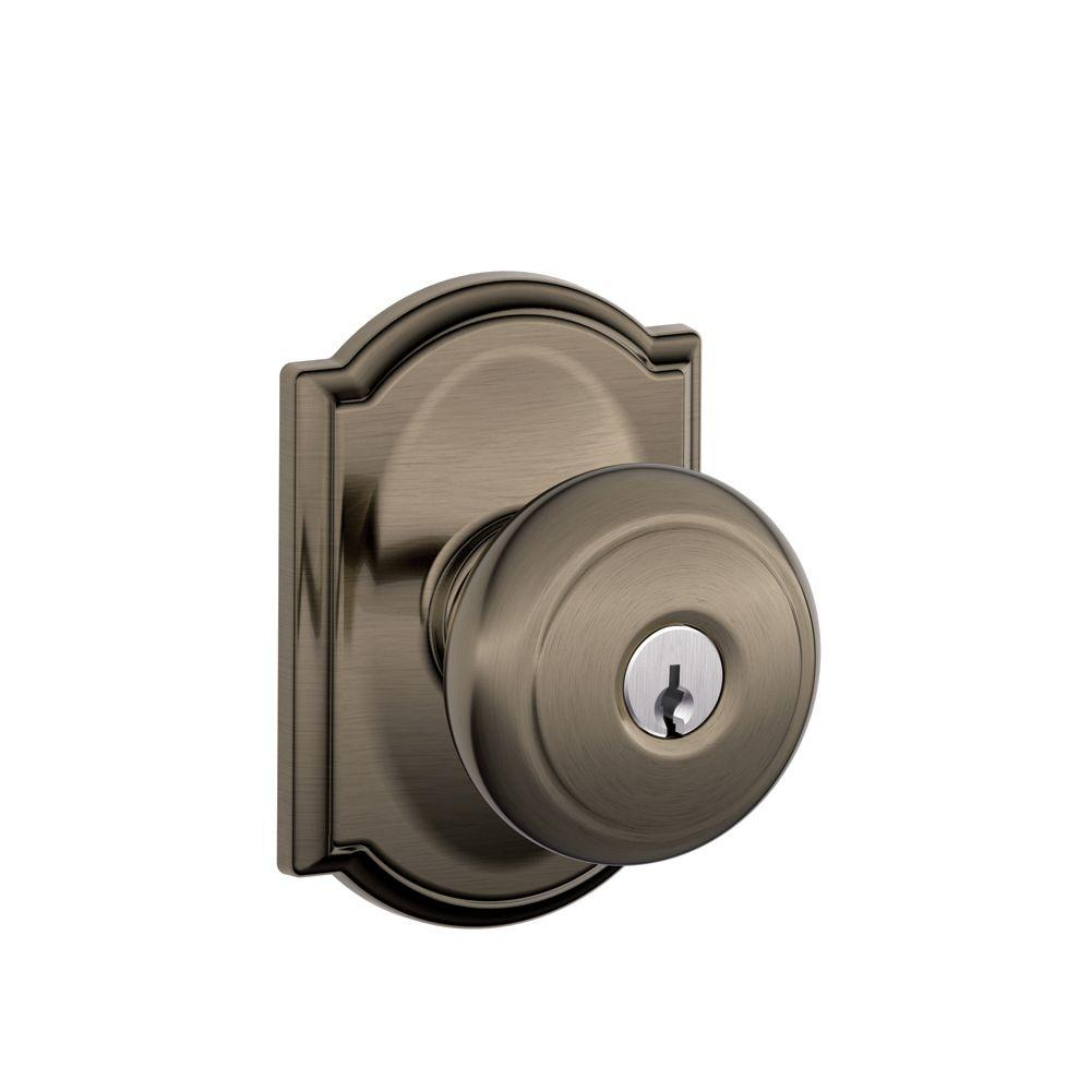 Addison Collection Antique Pewter Andover Keyed Entry Knob