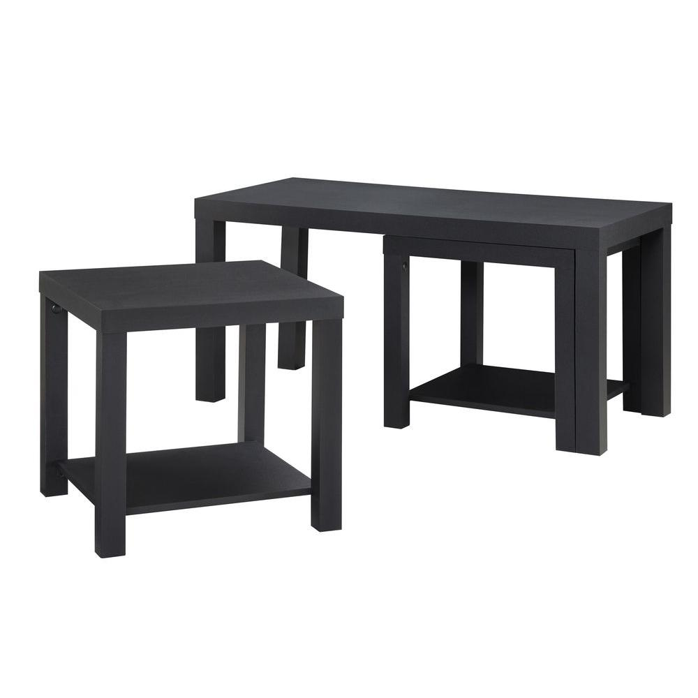 Ameriwood Home Simpson Black Coffee Table And End Set 3 Piece