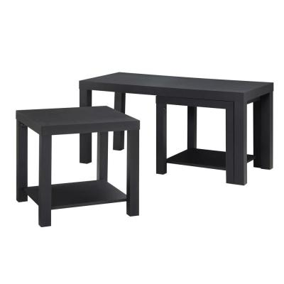Simpson 3-Piece Black Rectangle Composite Coffee Table Set with Shelf