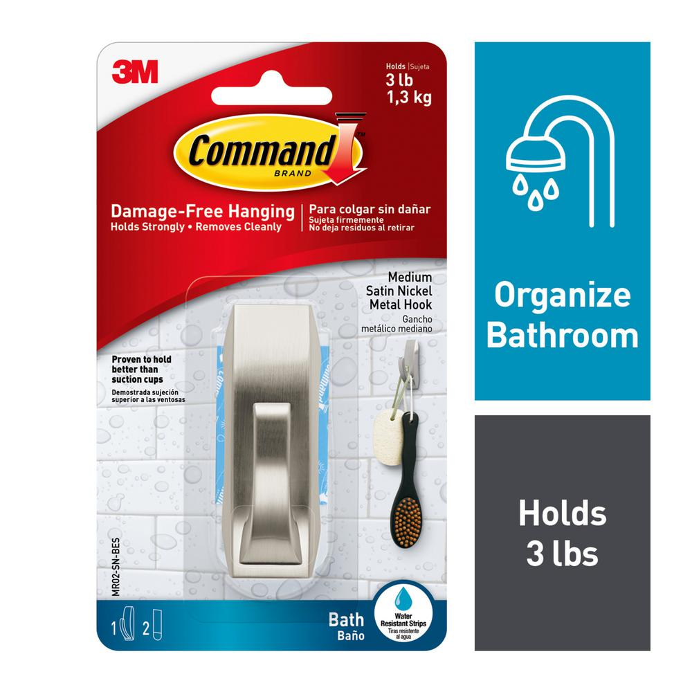 Command Modern Reflections Medium Hook with Water-Resistant Strips (1-Hook) (2-Water Resistant Strips)