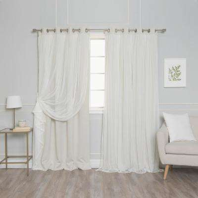 108 in. L Marry Me Lace Overlay Blackout Curtain Panel in Biscuit (2-Pack)