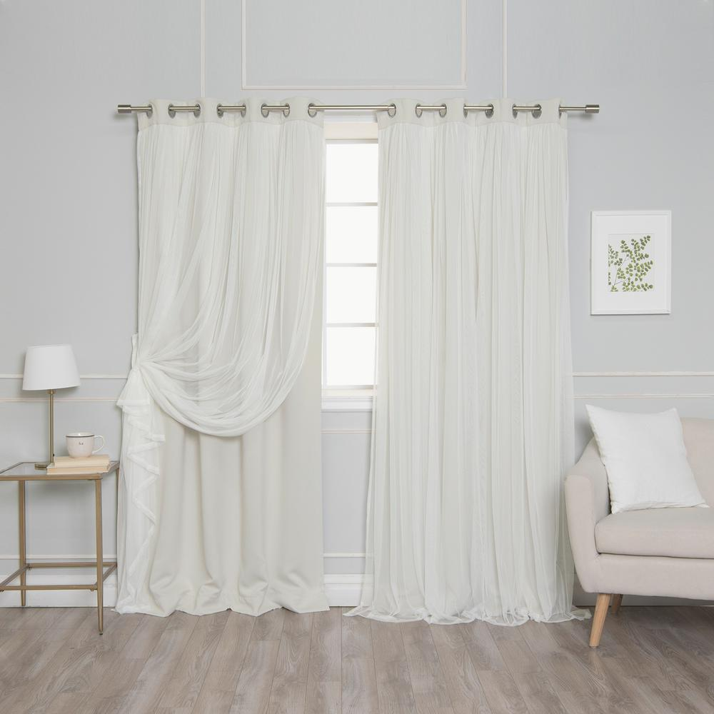 108 in. L Marry Me Lace Overlay Blackout Curtain Panel in