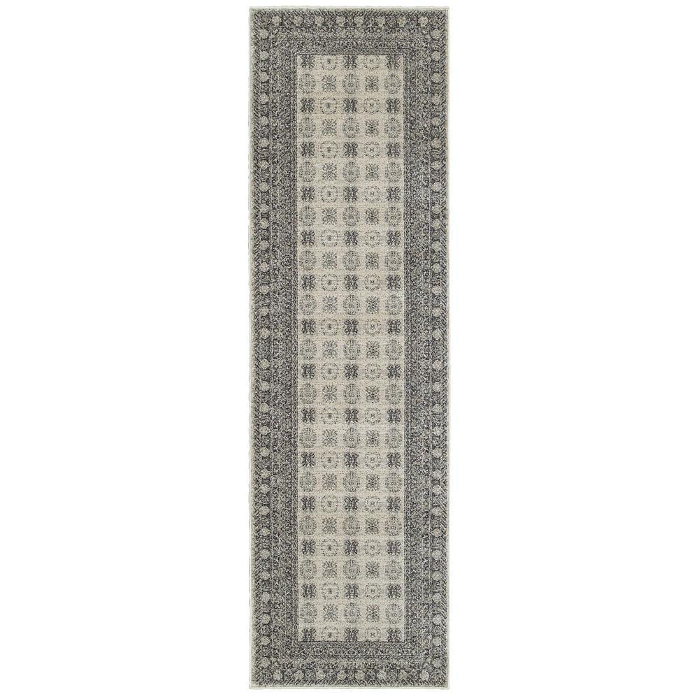 Radley Ivory/Grey 2 ft. x 8 ft. Border Runner Rug