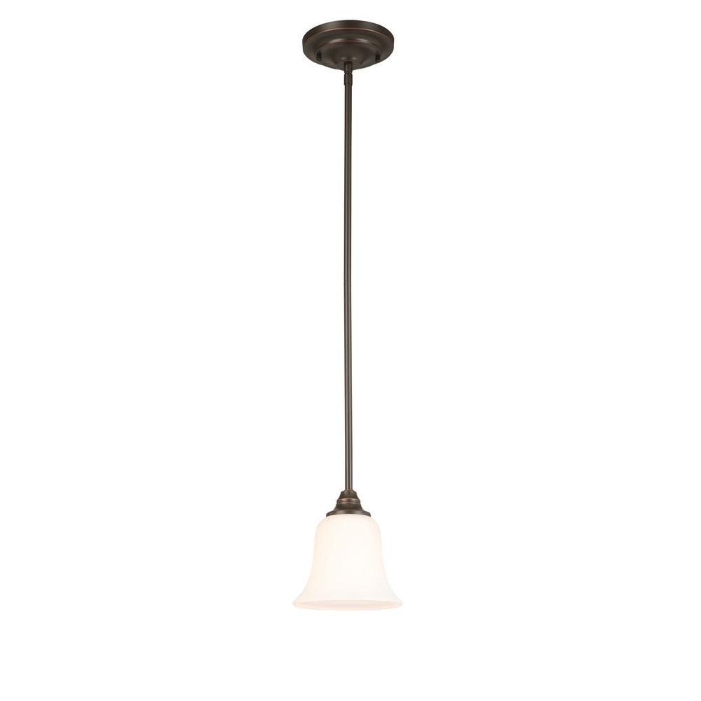 1 Light Oil Rubbed Bronze Mini Pendant With Frosted White Gl Shade