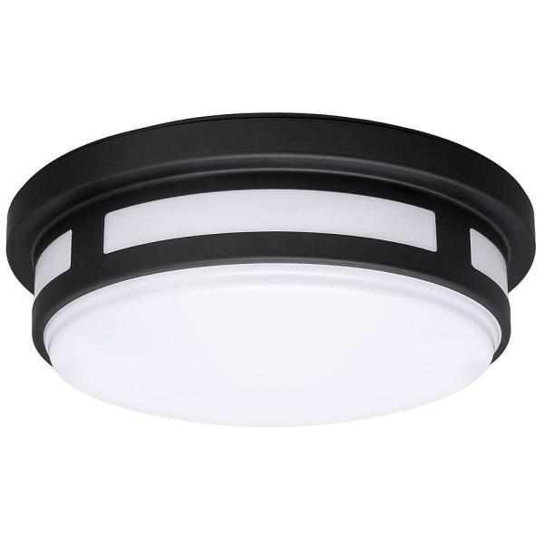 11 in. 1-Light Round Black LED Indoor Outdoor Flush Mount PorchCeilingLight 830 Lumens 3ColorTemp Changes Wet Rated