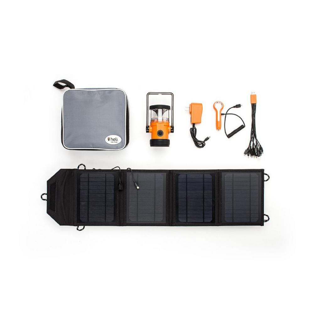 Heli 4400 Kit Ac Wall Adapter 10 In 1 Dc Car Charger Carrying Case 14 Watt Solar Panel With Usb Connection Orange Gr8lh Uk44 Or The Home Depot